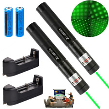 2x 900Miles Green Laser Pointer 532nm Visible Lazer Pen+Star Cap+Battery+Charger