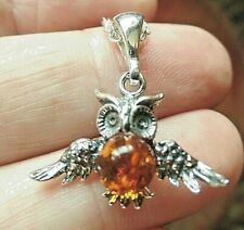 Sterling Silver and Baltic Amber Wise Owl Necklace Wings Out Taurus Birthstone