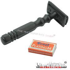 Unique Black Shaving Safety Razors Steel Handle Double Edge razor 10 Blades Free