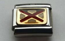 Genuine NOMINATION Charm NAUTICAL Letter V FLAG 18k Gold & Enamel Bracelet Link