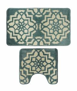 Bathroom Set of 2 Non-Slip Bath Rug Toilet Pedestal Mat Set Contour Bath Mat