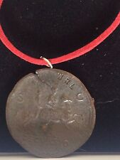 """Sestertius Of Nero Roman Coin WC29 Made From Pewter On 18"""" Red Cord Necklace"""