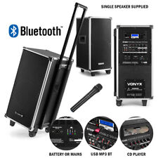 """Portable PA Speaker System 8"""" Bluetooth MP3 CD UHF Wireless Microphone Amplified"""
