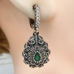 Deco 1.90ctw Emerald & Diamond Cut White Sapphire 14K Yellow Gold 925 Earrings