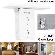 8 Port Wall Shelf Socket Bathroom Electrical Surge Protector 6 Shelf Outlet