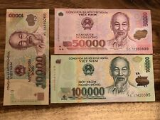 Vietnam Vnd Set 3 PCS,10000+50000+100000 Dong, Cir. Good Condition, Banknotes