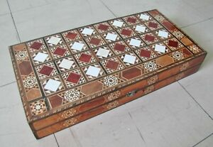 VINTAGE BACKGAMMON & CHESS * MARQUETRY / INLAID WOODEN BOX (70s-80s)