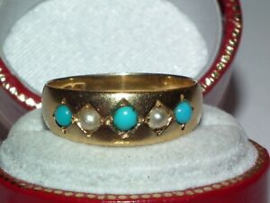 V Rare Antique 1885 Solid 18ct Gold Turquoise & Pearl Set Ring, Beautiful!