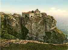 Grèce. Thessalie. Meteora. Varlaam. Photochrome original d'époque, Vintage
