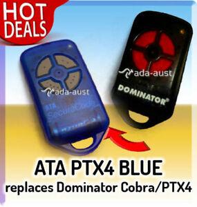 ATA PTX4 BLUE Suits Dominator Cobra Garage Door Remote
