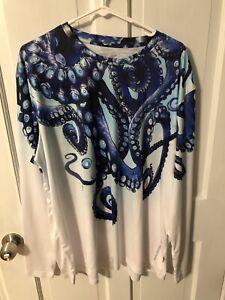 Mens Uv Swim Rashguard Shirt Long Sleeve Octopus XL UPF50