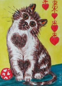 Original Miniature Watercolor Whimsical Bears Hearts Landscape Valentine paintings