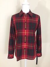 Foxcroft Red Black Plaid Button Down Shirt Non Iron Cotton Shaped Fit Size 6 NEW