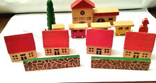 Wooden Christmas Village Train Station Houses Fences Train