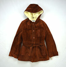 Vtg Thick Red Brown Suede Leather Wool Fleece Lined Hooded Belted Jacket Coat XS