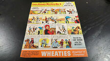 Wheaties Lone Ranger Mystery No 2 Cardboard Panel
