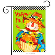"""Checkered Scarecrow Fall Garden Flag Primitive Autumn 12.5"""" x 18"""" Briarwood Lane"""