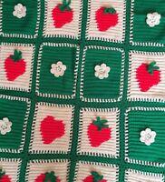 Handmade Granny Square 3D Strawberry Flower Green Red White Afghan Throw Blanket