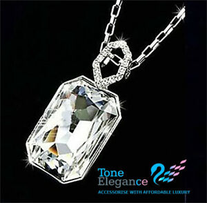 9ct 9k white gold GF wedding solid necklace made with swarovski elements crystal