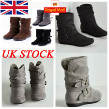 UK Womens Ladies Buckle Ankle Boots Fur Flat Fold Boot Slip On Suede Shoes Size