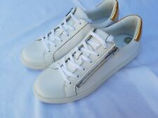 Women's Calvin Klein Sneakers/Trainers - White Leather, side zips - New UK 6