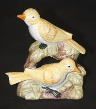 "Old Vintage Yellow Birds on a Tree Branch w Flower Ceramic Figurine 5"" Tall"