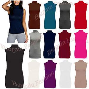 Ladies Polo Neck Womens Sleeveless Stretch Turtle Neck Jersey Basics Top 10-24