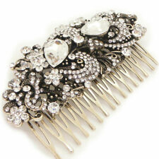 Large Antique Gold Crystal Vintage Style Flower Bouquet Bridal Hair Comb Slide