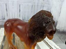 "Daum rare Lion african animal crystal 7.5"" amber standing pate de verre figurine"