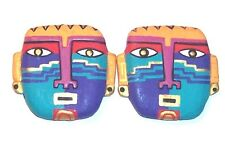 "1992 Early Laurel Burch Colorful Face Clip Earrings Approx 1 1/2"" X 1 1/2"" Rare"
