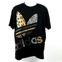 Adidas Off Position Animal Print Trefoil Logo Tee Tshirt Men's Size Large Black