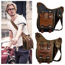 Classical Mens Vintage Canvas Leather Satchel Shoulder Messenger Rucksack Bags