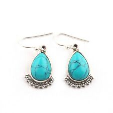 Natural Turquoise Cab Stone 925 Sterling Silver Anniversary Gift For Her Jewelry