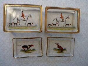 Fine Antique Enameled Glass Fox Hunting Dressing Or Trinket Set