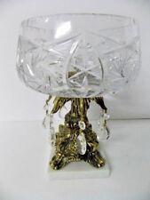 L & L WMC #8353 Vintage Ornate Pinwheel Crystal Brass Marble Compote 1970's