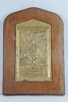 Vtg Jesus Praying in Gethsemane Brass Religious Wall Plaque Relief Metal Wood