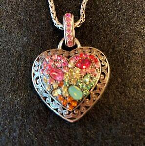 """Brighton Crystal Voyage Heart Necklace Multi Color 16 - 18"""""""