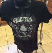 NWT Tapout Fighters Only Mag Skull MMA UFC WOMENS MEDIUM M Black T-Shirt #GB574