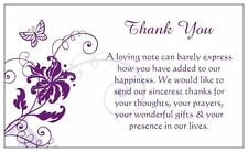 """LAST STOCK~*~10 x Purple Butterfly Wedding """"Thank You"""" Notes/Gift Tag 5 x 9 cm"""