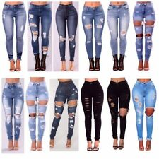 WOMENS LADIES GIRLS HIGH WAISTED EXTREME RIPPED SLIM SKINNY JEANS SIZE 6-16