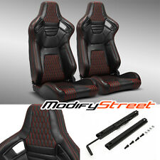 2 x MAIN BLACK+RED STITICHING PVC LEATHER L/R RACING BUCKET SEATS + SLIDER