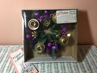 Purple Ribbon Advent Wreath - Vermont Christmas Company Sealed In box