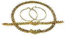 "14K Gold Fn Hugs And Kisses I Love You Necklace,Bracelet & Earring Set 18"""