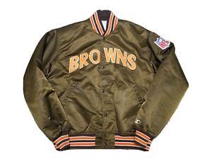 Vintage Cleveland Browns Starter Pro Line 80s Satin Bomber Jacket Mens XL