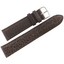 18mm Mens Fluco Record SHORT Brown Buffalo-Grain Leather German Watch Band Strap