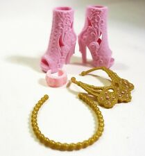 2016 Barbie Doll Shoes & Necklace, Bracelet Set - Pink