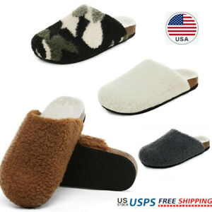 Women's House Slippers Fuzzy Indoor Outdoor Furry Cork Faux Sherpa Slippers