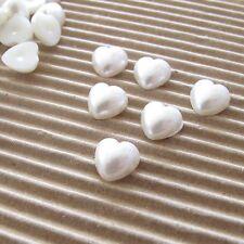 "US SELLER - 200pcs x 3/8""(8mm) Plastic Faux Pearl Heart Flatbacks 4/Cards SB557"