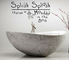 SPLISH SPLASH THERE'S A MONKEY IN THE BATH 2 KIDS VINYL DECOR DECAL WALL  ART