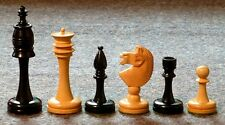 "GENUINE EBONY SLENDER CHESS MEN - STANDARD SET IN ELEGANT STYLE - K=4¼"" (710)"